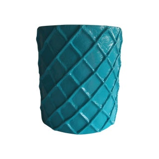 Turquoise Stool or Side Table
