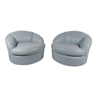 Pair Contemporary Modern Swivel Club Chairs