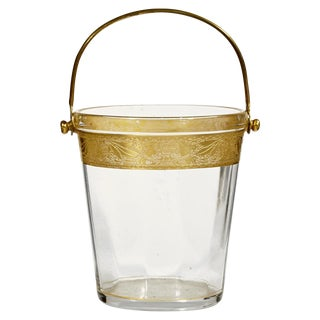 1930's Gilt-Accented Glass Ice Bucket
