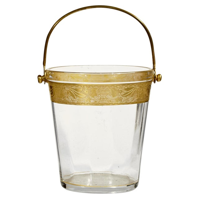 Image of 1930's Gilt-Accented Glass Ice Bucket