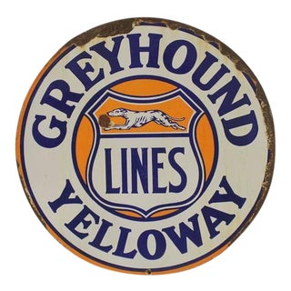 "1920s Double-Sided Embossed Porcelain Sign "" Greyhound Lines Yelloway """