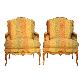 Baker Crown & Tulip Collection French Bergeres Chairs - a Pair