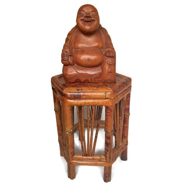Vintage Laughing Buddha Wood Statue - Image 2 of 6