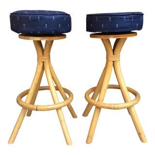 Navy Blue & Bamboo Barstools - A Pair