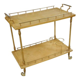 1960's Aldo Tura Dyed Goatskin Serving Cart/Bar With Wine Rack-Italy