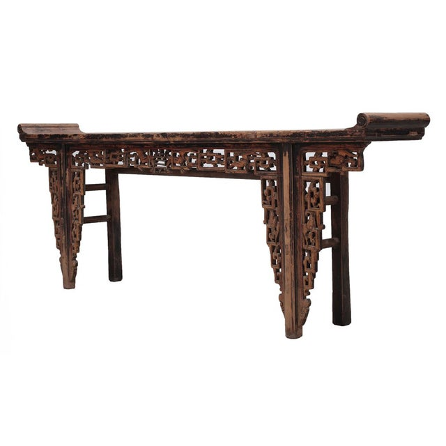 Chinese Rustic Brown Vintage Wood Side Altar Table - Image 4 of 7