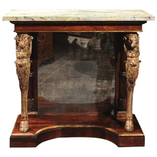 English Mid-19th Century William IV Pier Table with Green Jasper Top