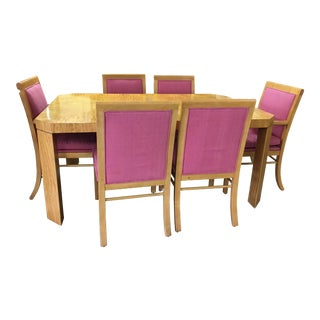 Baker Wood Inlay Table and 8 Chairs Designed by Charles Pfister
