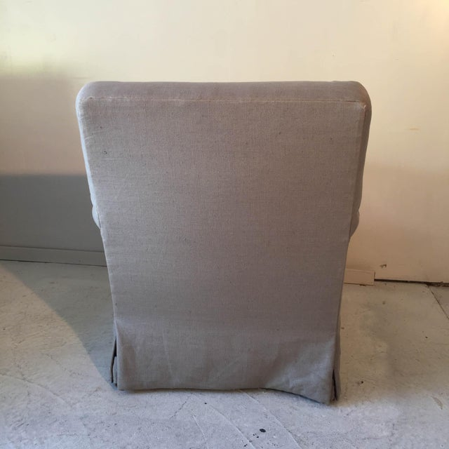 Baker Belgian Linen Club Chairs - A Pair - Image 7 of 9