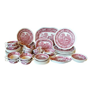 Copeland Spode's Tower Red and White Transferware Dinner Service