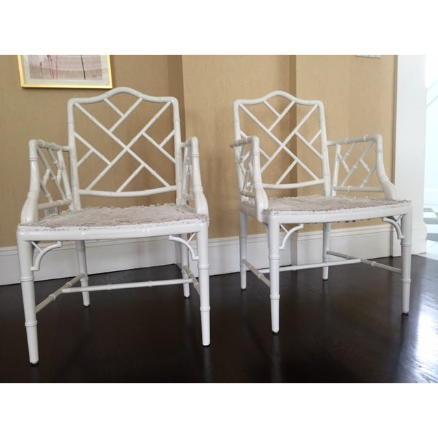 Image of Chippendale Faux Bamboo Chairs - A Pair