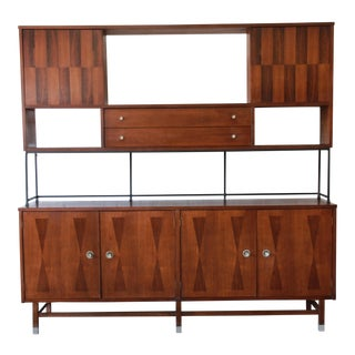 Stanley Mid-Century Walnut and Rosewood Wall Unit