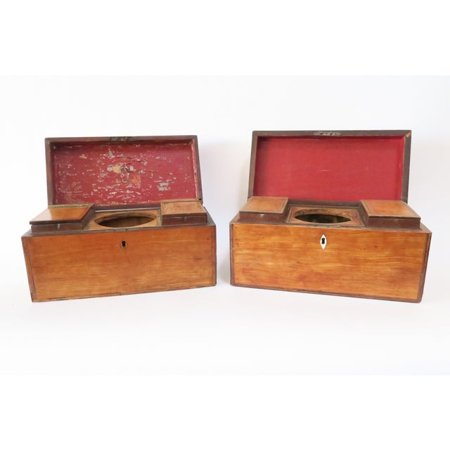 Antique Wood Tea Caddies- a Pair - Image 3 of 7