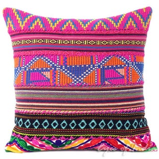 Pink Dhurried Throw Pillow