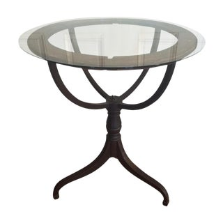 Vintage Glass Top Globe Pedestal Base Table