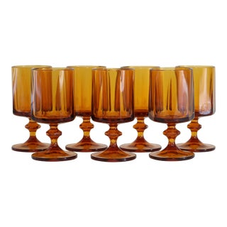 1940s Amber Water Goblets - Set of 7