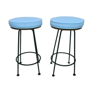 Atomic Wrought Iron Mid-Century Stools - A Pair