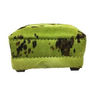 Green Cowhide Ottoman