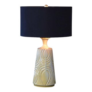 Hand Thrown Yellow Ceramic Lamp with Decorative Lines by Robert Maxwell