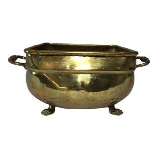 Vintage Footed Brass Jardinière