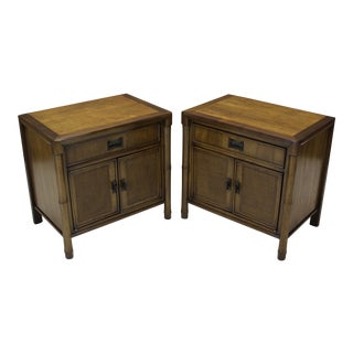 Mid-Century Campaign Style Nightstands - A Pair