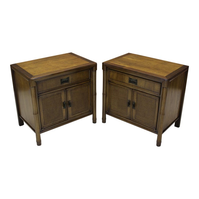 Mid-Century Campaign Style Nightstands - A Pair - Image 1 of 10