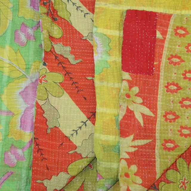 Vintage Red & Green Kantha Quilt - Image 2 of 3