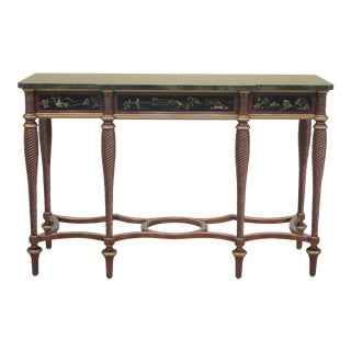 John Widdicomb Chinoiserie Faux Marble Top Console Table