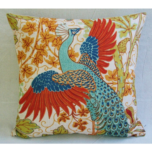Colorful Peacock Linen Feather/Down Pillow - Image 3 of 5