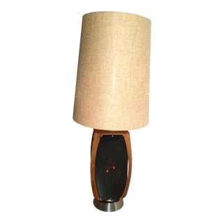Teak Ribbon Smoked Lucite Table Lamp