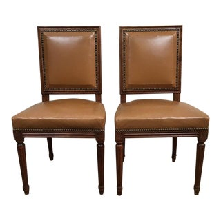 Antique Louis XVI Leather Upholstered French Country Chairs - A Pair
