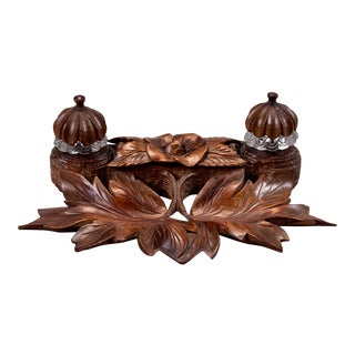 Black Forest 19th-Century Carved Double Inkwell