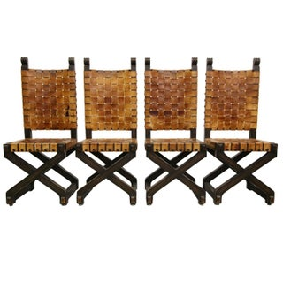 Vintage Woven Leather Dining Chairs - Set of 4