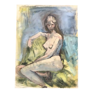Vintage Female Nude Oil Painting on Board