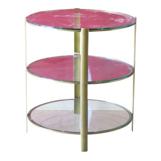 Round 3 Tier Brass & Glass Top Side Table