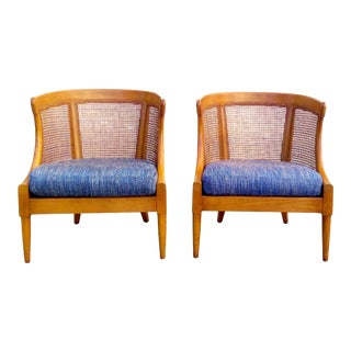 American of Martinsville Cane Barrel Chairs - Pair