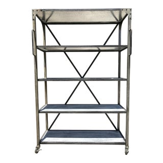 Vintage Industrial Rolling Storage Bookcase