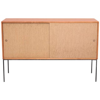 Paul McCobb Wrought Iron Base Credenza in Blonde Maple and Cane, USA
