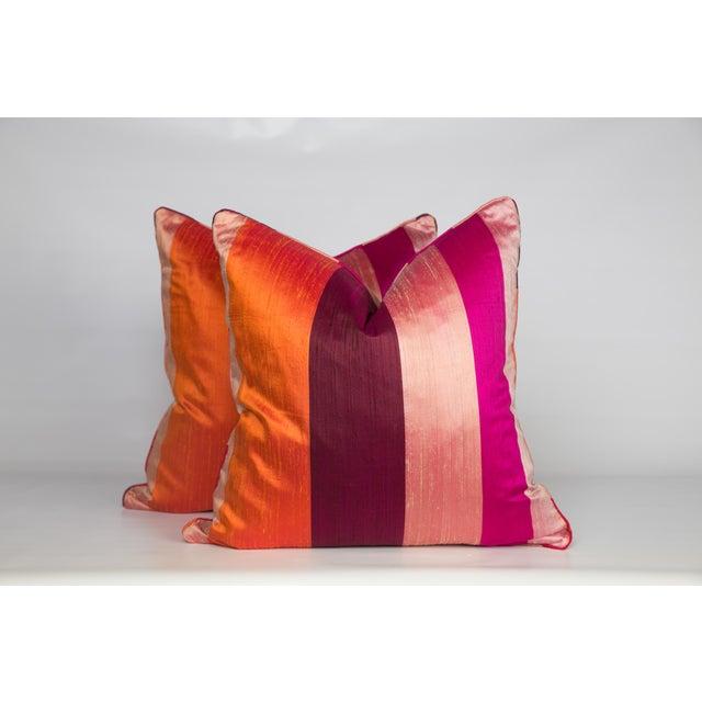 Silk & Velvet Stripe Pillows - A Pair - Image 5 of 5