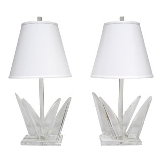 Pair of Lucite Table Lamps by Van Teal
