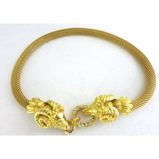 Image of Gold  & Diamonte Ram's Heads Necklace