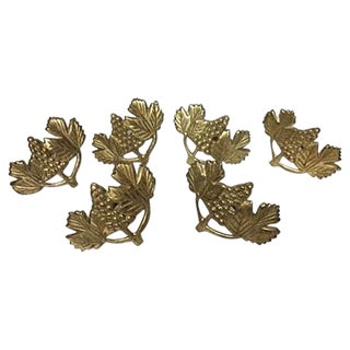 Vintage Brass Vineyard Napkin Rings - Set of 6