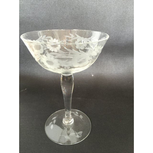 1940s Floral Etched Champagne Coupes- Set of 8 - Image 6 of 7