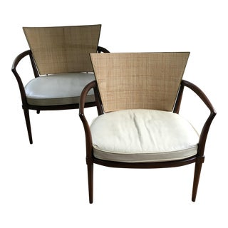 Bert England for Johnson Furniture Caned Lounge Chairs - Pair