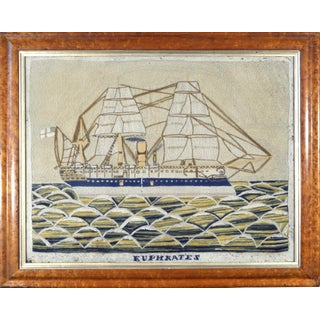 English Sailor's Woolwork Picture of HMS Euphrates