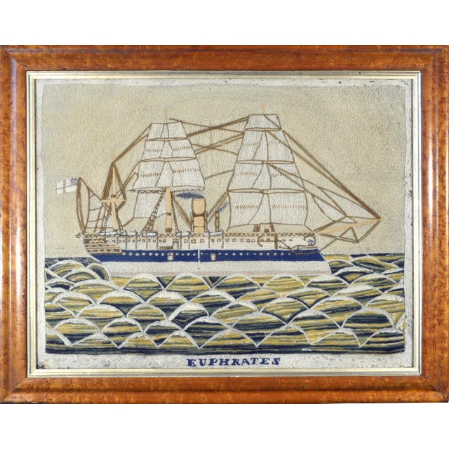 Image of English Sailor's Woolwork Picture of HMS Euphrates