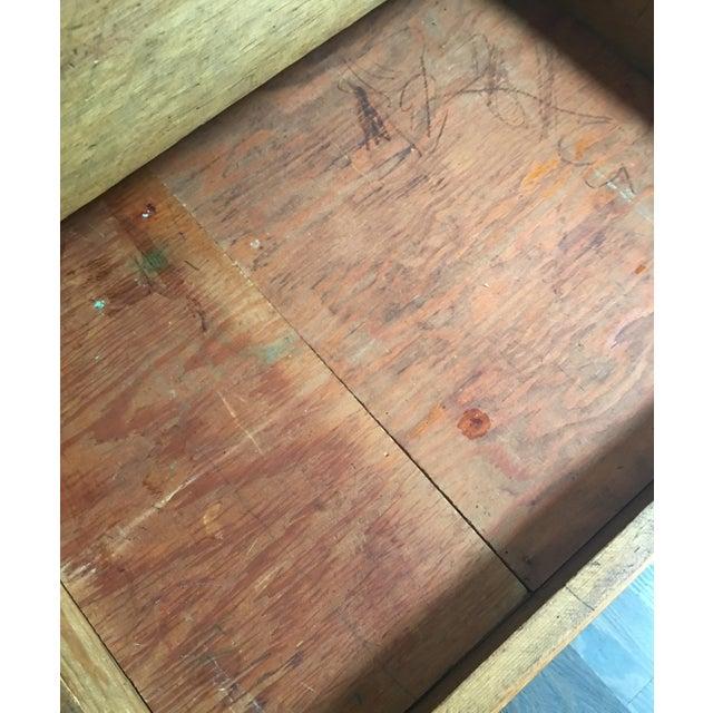 Antique Country Pine Slant Top Children's School Desk - Image 8 of 11