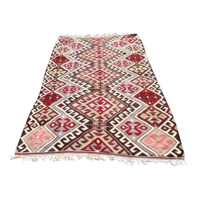 "Vintage Turkish Kilim Chevron Diamond Flat-Weave Wool Handwoven Rug - 5'5"" X 8'5"" - Image 1 of 6"