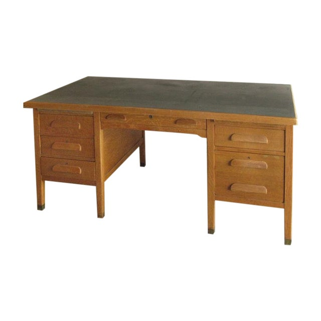 Large Oak Desk With Dark Green Leather Top - Image 1 of 6
