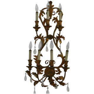 Antique Italian Tole Gilt 7 Arm Electric Wall Sconce With Crystal Prisms